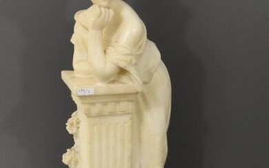 Sculpture of young lady in alabaster, unsigned (Ht 60cm)