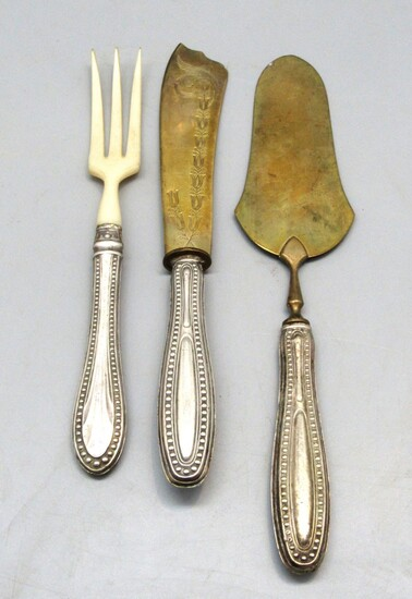 Set of 3 Antique Cutlery Serving Dishes with Handles Coated in 800 Silver