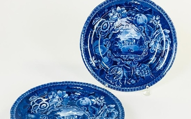 """Set of Six R. Hall's """"Select Views"""" Staffordshire Blue Transfer-decorated Plates, each marked """"Pains Hall/Surrey,"""" dia. 10 in."""