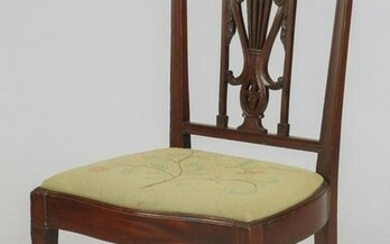 Sheraton style chair w/ needlepoint seat, 19th c.