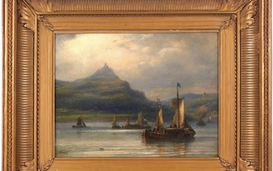 Ships on the Rhine at Drachenfels, panel 28.5 x 38 cm