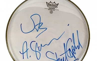 Signed STING SUMMERS COPELAND Drumhead POLICE
