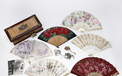 Six fans, a purse, three chains and a fan box, Modernist and Art Deco, late 19th Century-early decades of the 20th Century.