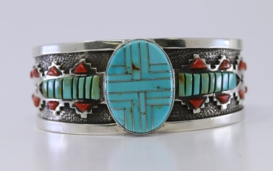 Sterling Silver and Turquoise and Coral Bracelet by