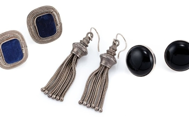 THREE PAIRS OF SILVER EARRINGS; two pairs of stone set studs with cushion shape sodalite plaques (1 with fracture), and round caboch...
