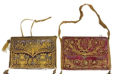 TWO 19TH CENTURY OTTOMAN VELVET AND GILT FLORAL EMBROIDERED ...