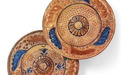TWO HISPANO-MORESQUE COPPER-LUSTRE AND BLUE CHARGERS, 19TH CENTURY