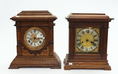 TWO OAK CASED ANSONIA MANTEL CLOCKS, 35 CM AND 35.5 CM HIGH, LEONARD JOEL LOCAL DELIVERY SIZE: SMALL