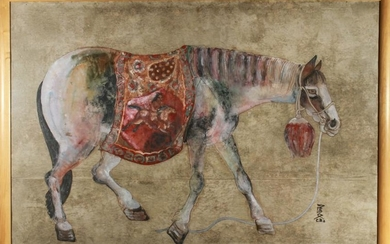 """""""Tang Horse"""" Chinese Gouache on Paper, 20th C."""