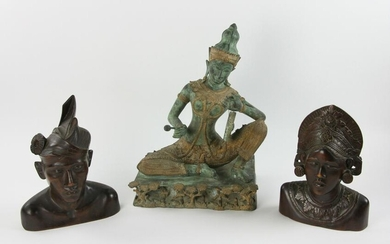 Thailand Wood Carvings and Seated Bronze Figure