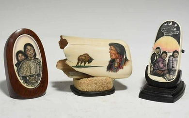 Three Pieces of 20th C. Native American Scrimshaw