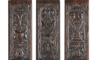 Three mid-16th century carved oak panels, French, circa 1540