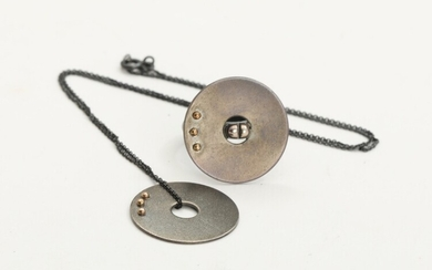 """NOT SOLD. Toftegaard: A 14k gold and oxidized sterling silver """"Mono"""" ring and pendant. Oxidized..."""