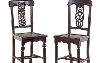 Two Chinese Export Rosewood Side Chairs
