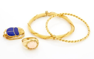 Two Gold Bangle Bracelets, Coral Ring and Lapis Scarab Pin