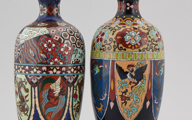 Two Japanese cloisonné vases, 20th century.