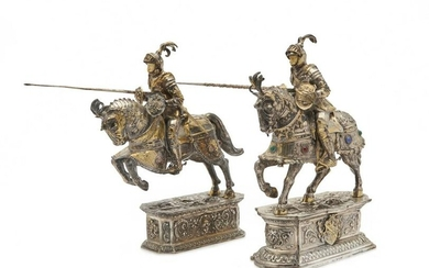 Two Similar German Silver and Gilt Silver Jousting