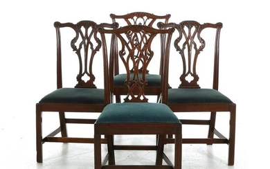 Two pairs Chinese Chippendale style carved mahogany side chairs (4pcs)