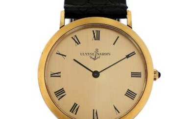 Ulysse Nardin: A gentleman's wristwatch og 18k gold, ref. G5130. Mechanical movement with manual winding....