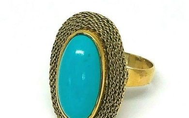 Victorian 18K Yellow Gold Turquoise Ring