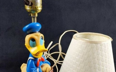 Vintage Donald Duck In Boat Figure Electrical Lamp With