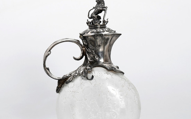 WMF silver-plated metal jug with glass tank etched in French acid, circa 1900.