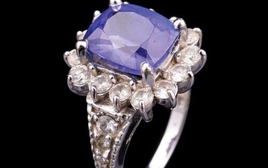 White Gold, Tanzanite and Diamond Cluster Ring
