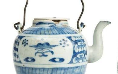 White and blue Chinese teapot, with lid.