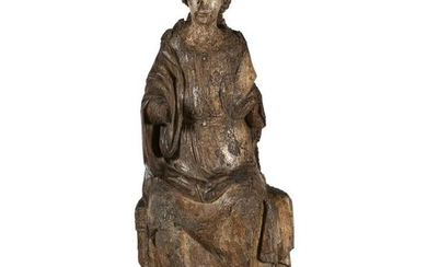 Wooden sculpture depicting the Madonna on the throne