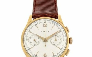 ZENITH - Yellow gold wristwatch with blue tachymeter