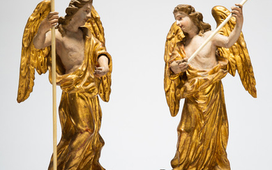 Two sculptures / figures, angel, wood, probably 18th century (2)