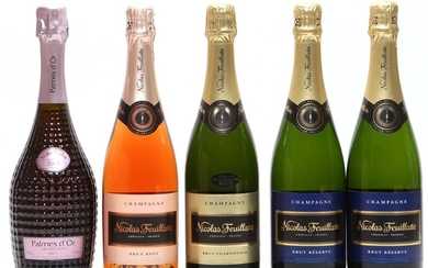 """1 bt. Champagne Rose """"Palmes d'Or"""", Nicolas Feuillatte 2005 A (hf/in). etc. Total 5 bts."""