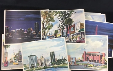 12 Vintage Richard Lewis Water Color Prints of Orlando