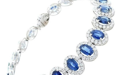 13.70 Carat Oval Blue Sapphire and Diamond Bracelet in
