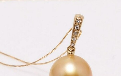 14 kt. Yellow Gold - 11x12mm Golden South Sea Pearl