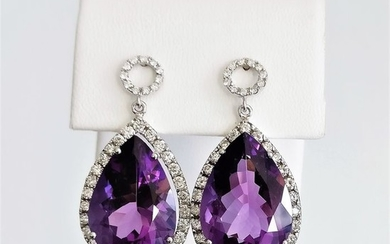 18 kt. White gold - Earrings - 18.35 ct Amethyst - Diamonds