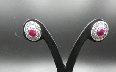 18 kt. White gold - Earrings Ruby - Diamonds