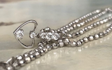 18 kt. White gold - Necklace with pendant - 0.22 ct Diamond