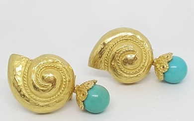 18 kt. Yellow gold - Earrings Turquoise