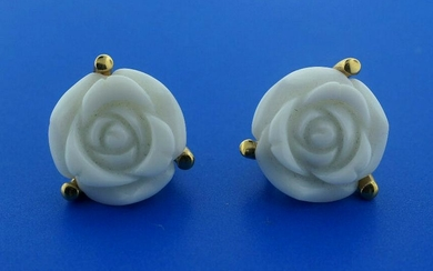 18K YELLOW GOLD WHITE CERAMIC CARVED ROSE CLIP ON