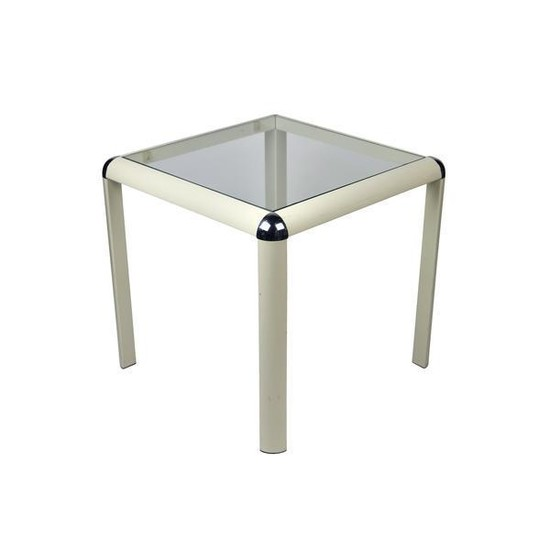 1970s Metal and Glass Side Table