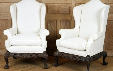 LARGE PAIR CHIPPENDALE STYLE WING CHAIRS C.1890