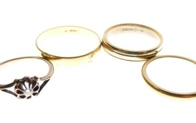 22ct gold wedding band, another 22ct gold and platinum...