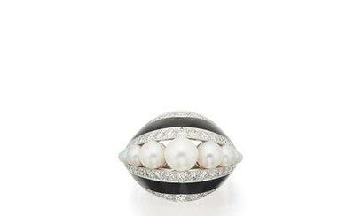 CULTURED PEARL, DIAMOND AND ENAMEL RING, TIFFANY & CO.