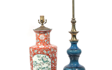 (2pc) CHINESE PORCELAIN & CERAMIC TABLE LAMPS