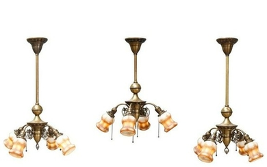 3 Antique French Louis XIV Style Brass Chandeliers
