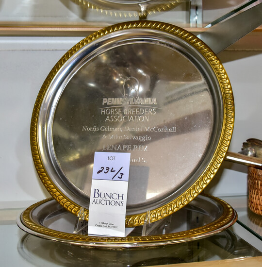 (3) Silver Plate Horse Racing Trophy Trays
