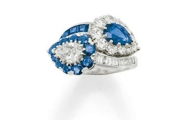 A Sapphire, Diamond and Platinum Ring