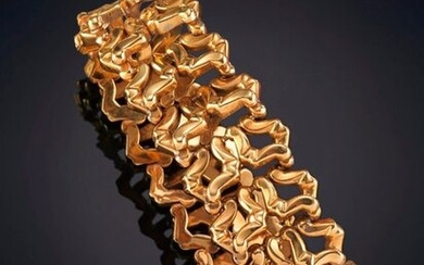 40'S BRACELET GEOMETRIC LINKS INTERLACED IN 18K YELLOW GOLD. Semi-rigid punched piece. Exit: 1.100,00 Euros. (183.025 Ptas.)