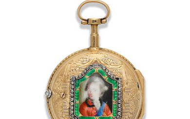 Lepine. A continental gold key wind open face pocket watch with painted enamel portrait to reverse
